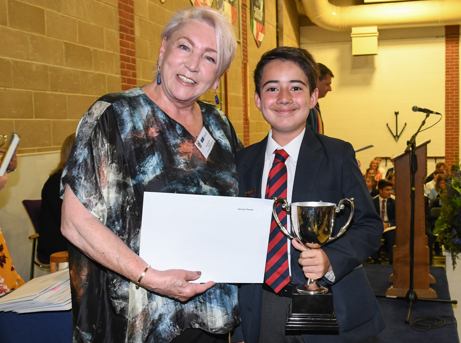 08.07.19. Harrison Thomas wins the Year 7 Outstanding Academic Achievement Award a year after leaving the LVS Ascot Infant & Junior School