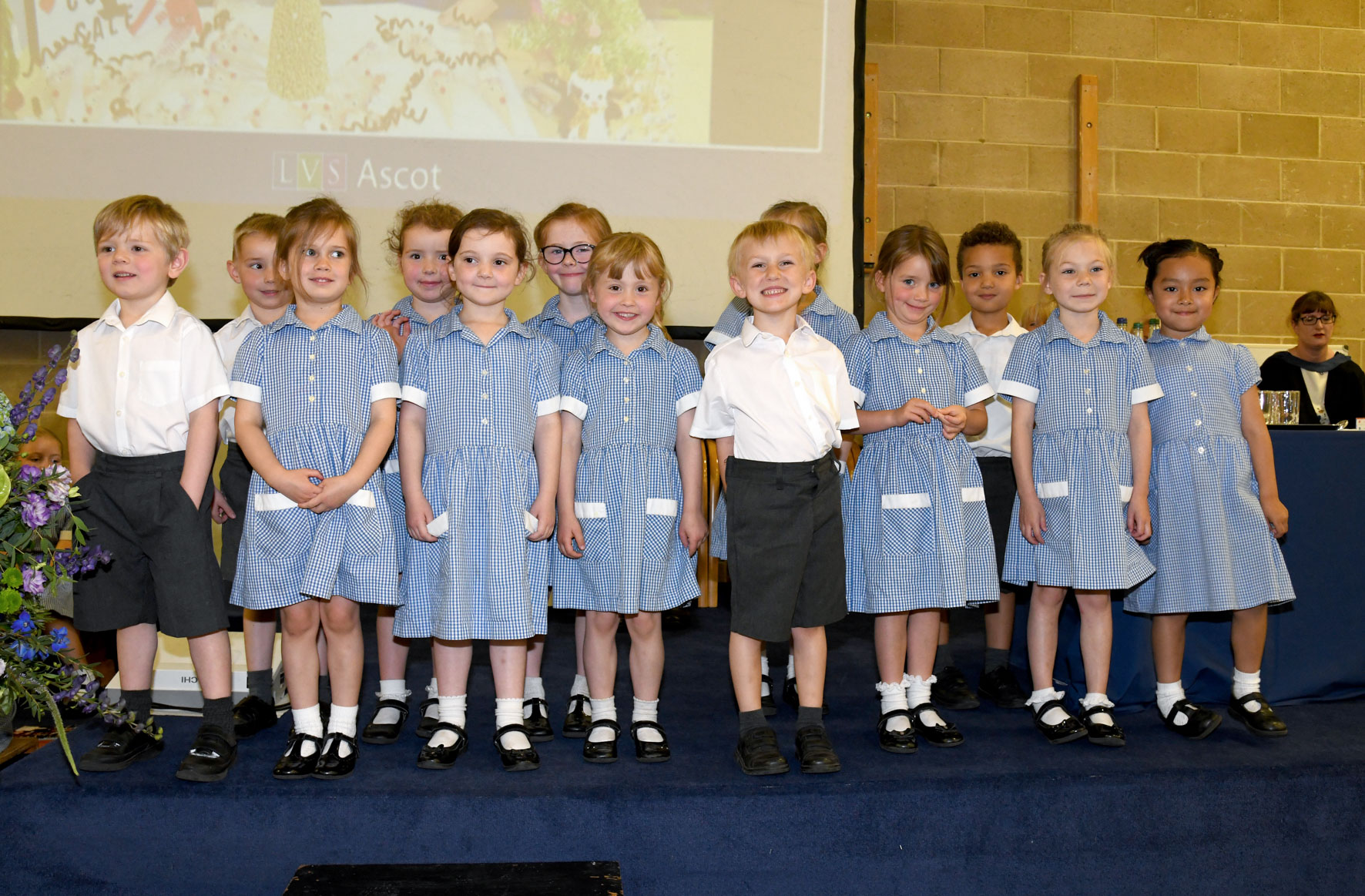 08.07.19. LVS Ascot's youngest pupils, the Reception class, enjoy their moment on stage at Celebration Day